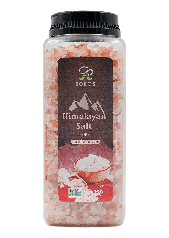 Soeos Himalayan Salt, Pink Salt, 2.4 lb (38.8oz). Non-GMO CERTIFIED, Kosher, Himalayan Pink Salt, Coarse Grain Himalayan Salt, Natural Pink Salt - For Grinders and Salt Mills, Natural Pure Rock Salt.