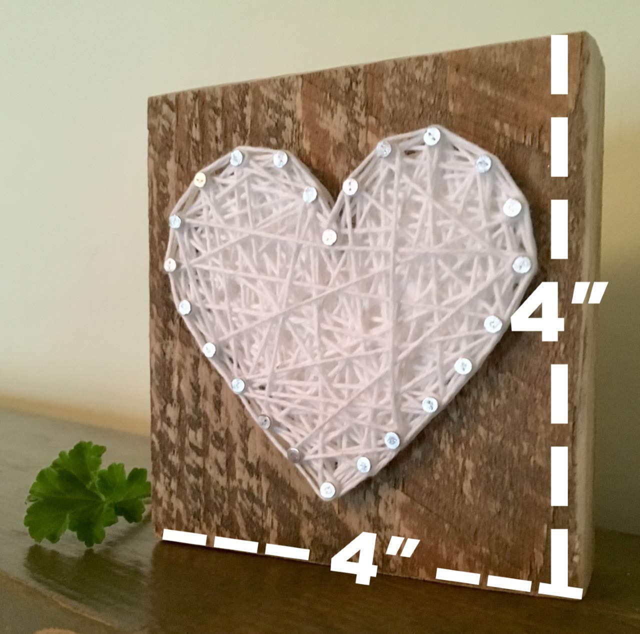 Sweet small wooden White string art heart gift. Heart sign. Perfect holiday decoration, home accents, Wedding favors, Anniversary, nursery decoration and just because gifts by Nail it Art.
