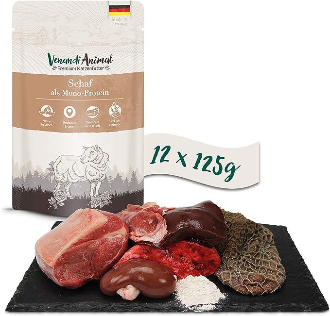 Pienso Premium para Gatos Completamente Libre de Cereales Pato como monoprote/ína Venandi Animal 6 x 400 g