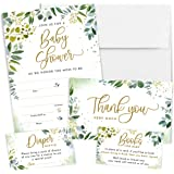 Printperie 25 Greenery Baby Shower Invitation Set with Envelopes - Gender Neutral Blank Fill-in Invites for Boy or Girl - Inc