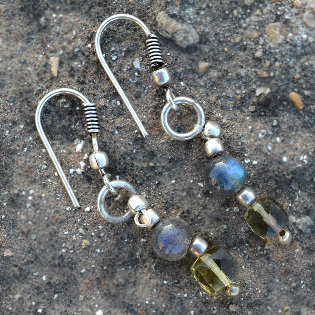 Saamarth Impex Lemon Quartz /& Labradorite 925 Silver Plated Dangle Earring PG-131996