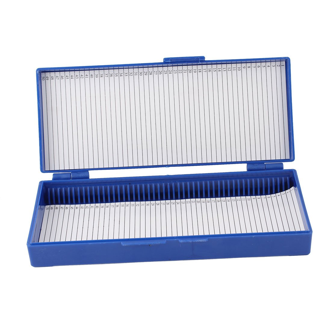 Royal Blue Plastic 50-Place Microslide Slide Microscope Box Sourcingmap a14030600ux0103