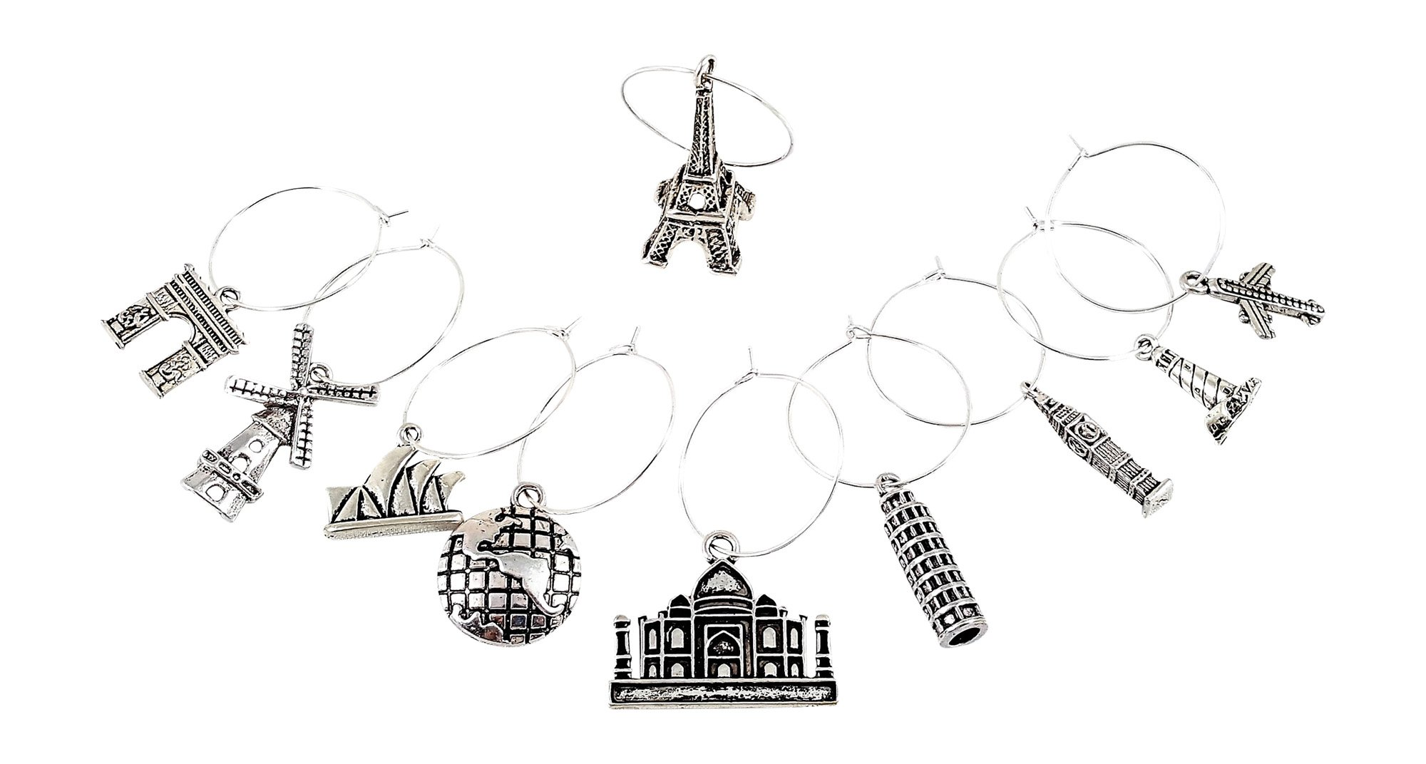 10 Piece World Travel Themed Wine Charm Set