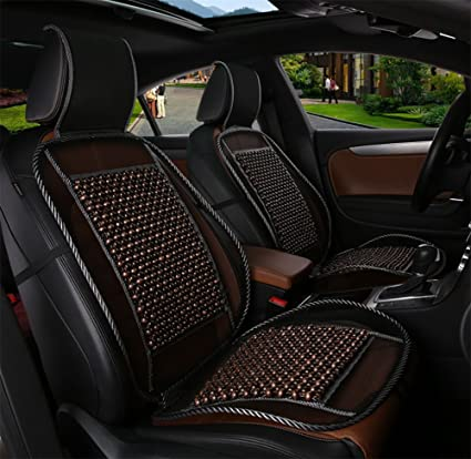 BMDHA Car Seat Covers Wood Beads Breathable Comfortable Massage Back Support Front Row Universal Cushion