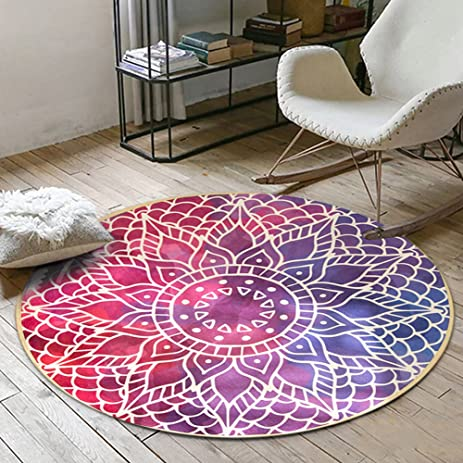 Amazon.com: Colorful Bohemian Round Rug Carpet Floor Mat, Soft Anti ...