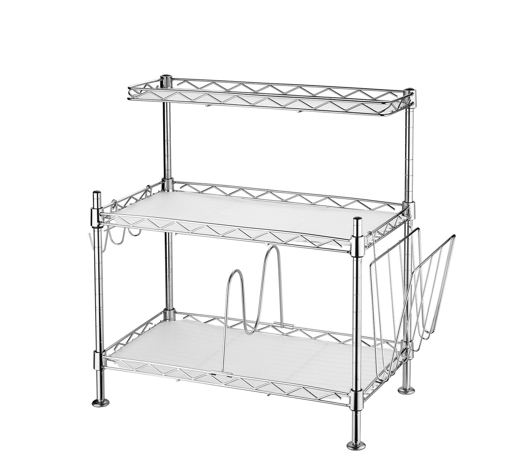 Adjustable Steel 3 Shelf Kitchen Cabinet and Counter Rack Storage ...