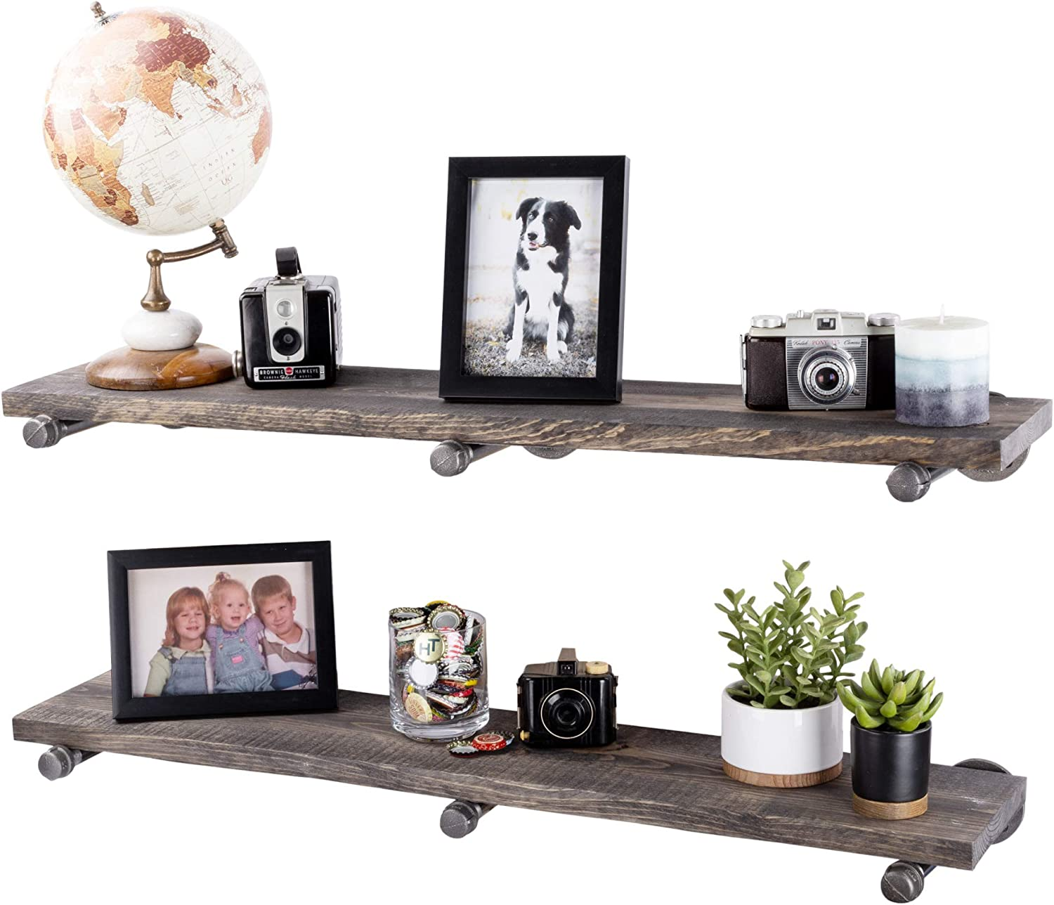 Industrial Pipe Wooden Shelves Restore by PIPE DÉCOR Premium Ponderosa Pine Wood Shelving 36 Inch Length Set of 2 Boards and 6 Straight Brackets Boulder Black Finish