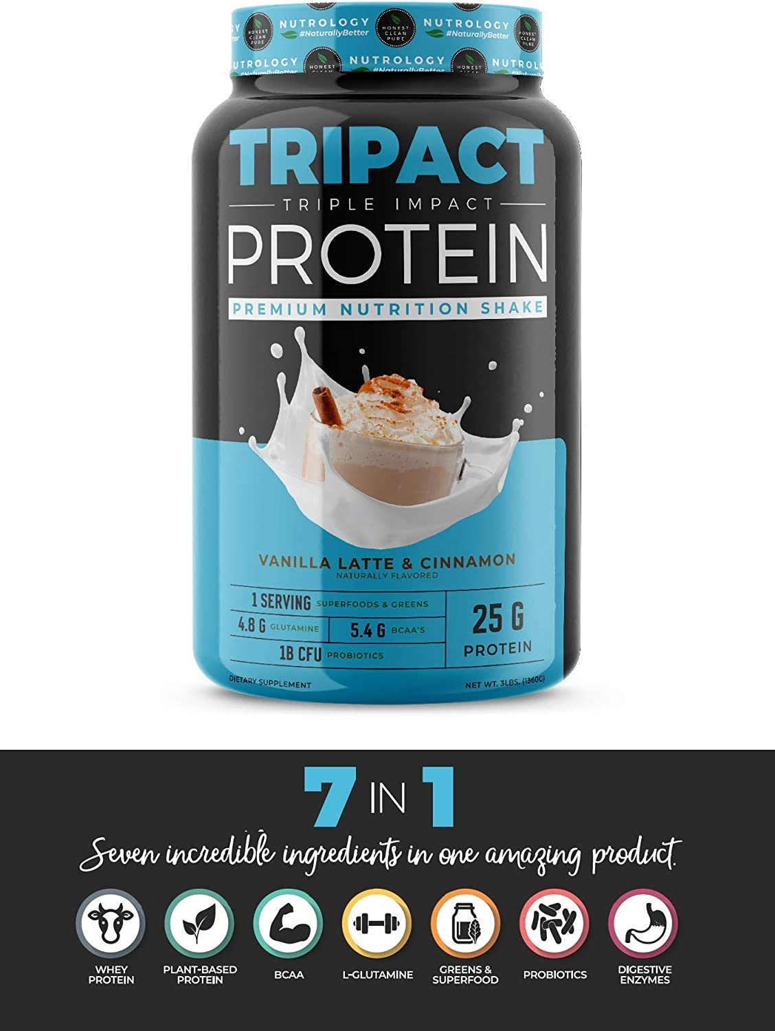 TRIPACT Protein – Vanilla Latte with Cinnamon 3lb. – Non-GMO Grass Fed Whey Protein, Plant Proteins, Greens, Superfoods and Probiotics.