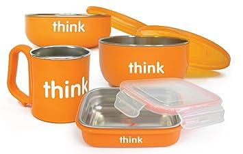Feeding The Cheapest Price Thinkbaby Complete Bpa Free Feeding Set-orange