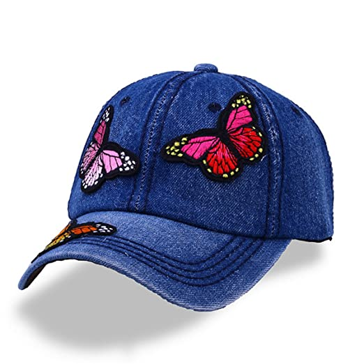18f256b6df5 Amazon.com  CRUOXIBB Women Embroidery Butterfly Denim Jean Hat Snapback  Baseball Caps(Butterfly Blue)  Clothing
