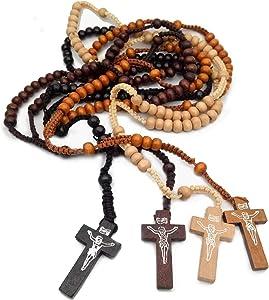 4 Pcs Wooden Rosary Beads Catholic Necklace for Men Handmade Religious Crucifix Prayer Jesus Imprint Crosses Pendant Necklaces