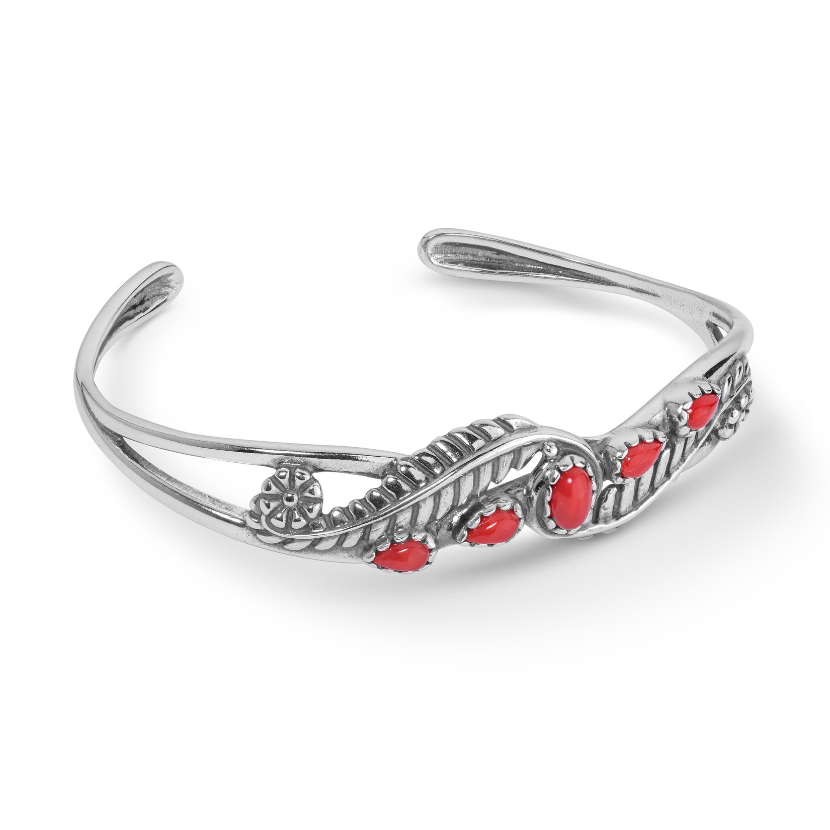 American West Sterling Silver & Coral Five Stone Leaf Design Cuff Bracelet
