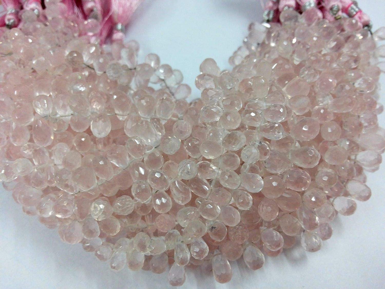 Mughal Gems /& Jewellery Natural Rose Quartz Teardrop Briolette Faceted 5X7-6x8mm Gemstone Beads 8 Inch