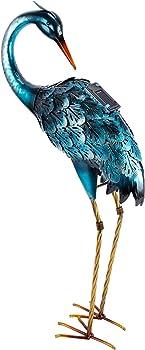 Chisheen Blue Heron Solar Garden Art Statue