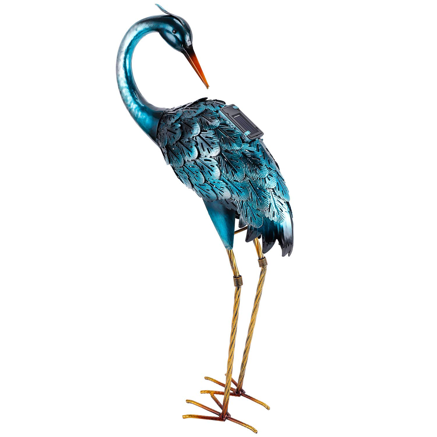 Crane Garden Art Statue with Solar Light Outdoor Yard Statues Blue Heron Decor for Lawn Patio