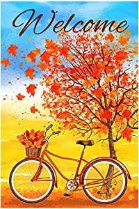 "Morigins Welcome Autumn Bicycle Decorative Red Fall Leaves Garden Flag Double Sided Outdoor Yard Flag 12.5""x18"""