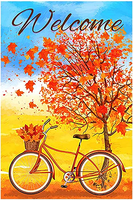"""Morigins Welcome Autumn Bicycle Decorative Red Fall Leaves Garden Flag Double Sided Outdoor Yard Flag 12.5""""x18"""""""