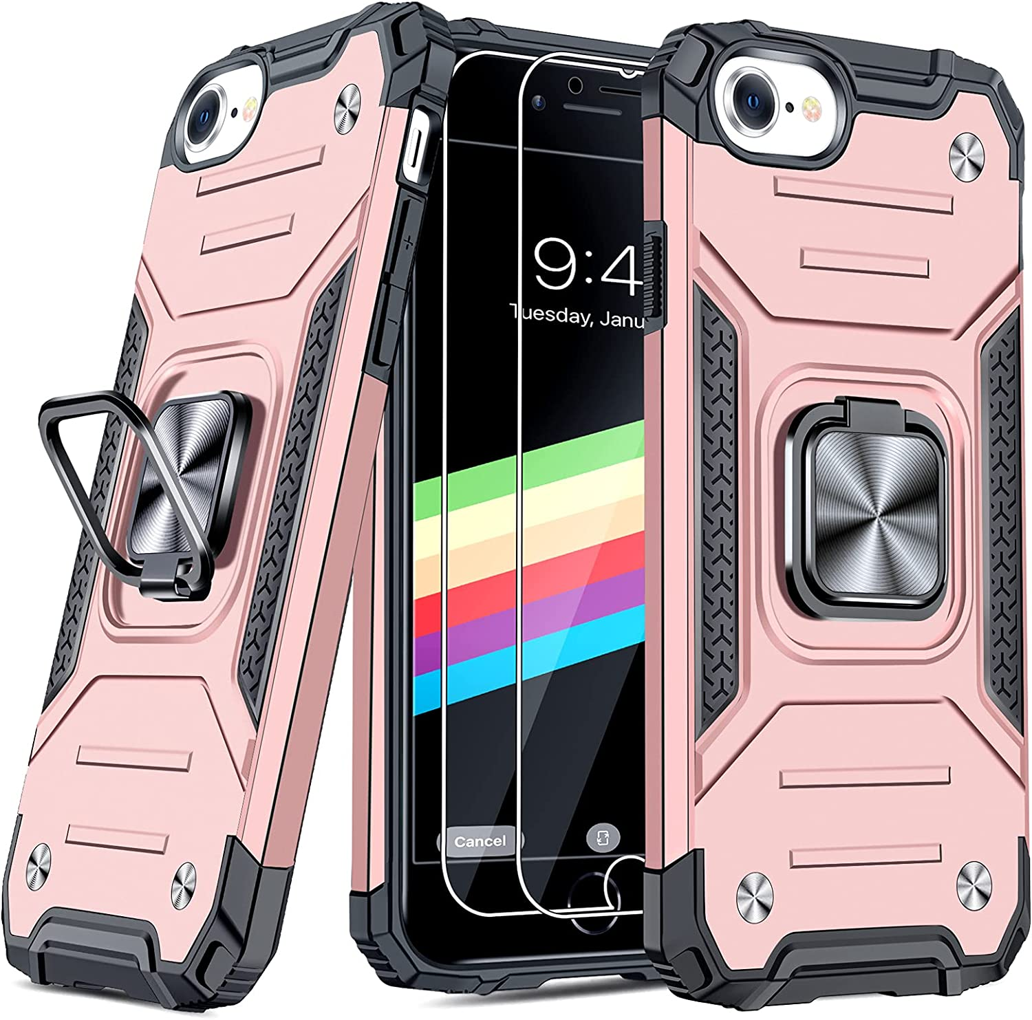 """JAME Case for iPhone SE 2020 Case with Screen Protector 2Pcs, for iPhone 8 Case, for iPhone 7 Case, for iPhone 6S/6 Case, Military-Grade Protection, with Ring Kickstand Shockproof Case 4.7"""" Rose-Gold"""