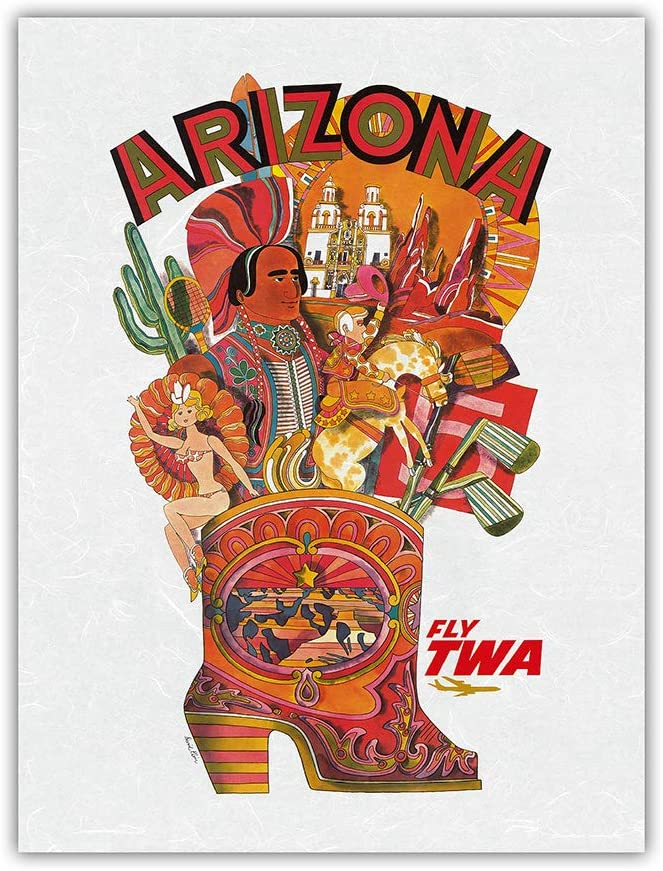 Arizona - Fly TWA Denver Mall Trans A surprise price is realized World Airlines Travel Poster Vintage