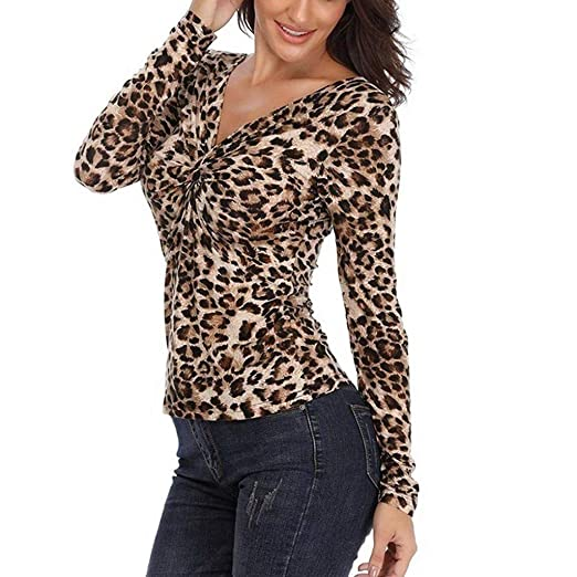 Amazon.com  HIKO23 Leopard Print Shirts for Women Trendy Form Fitting  Ruched Front Twist Knot V Neck Long Sleeve Blouses Tees  Clothing 11340fd77
