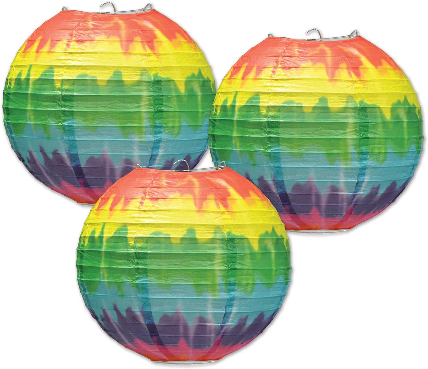 """Beistle Tie Dyed Groovy Paper Lanterns 3 Piece 60's Theme Party 1960's Peace Love Happinenss Hanging Decor Birthday Supplies, 9.5"""", Multicolored"""