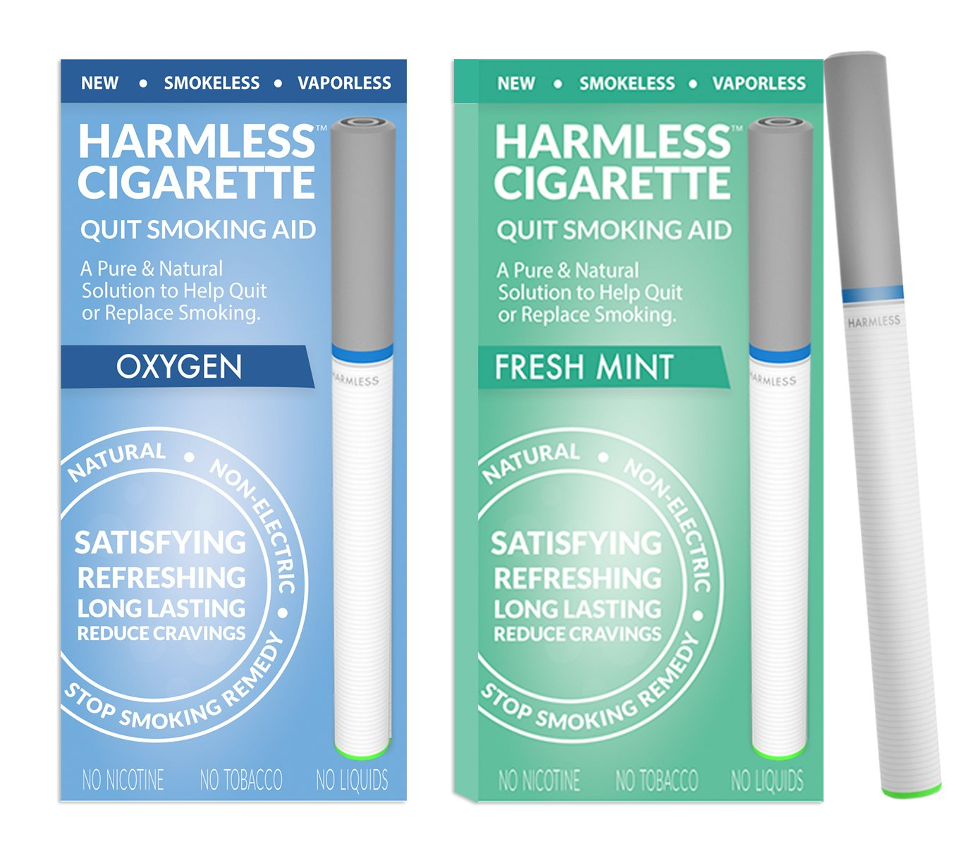 New | Quit Smoking Aid | Stop Smoking Remedy To Help Quit & Reduce Cravings | Natural & Therapeutic Quit Smoking Solution | Harmless Cigarette (2 Pack, Variation Set -, Oxygen / Fresh Mint)