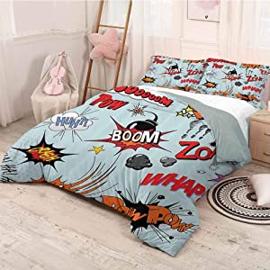 prunushome 1950s Decor Collection Duvet Cover Quilt Set Comic Book Explosion Expression Thoughts Noise in Text Dynamite Cartoon Image Decorative 3 Piece Bedding Set Twin Size