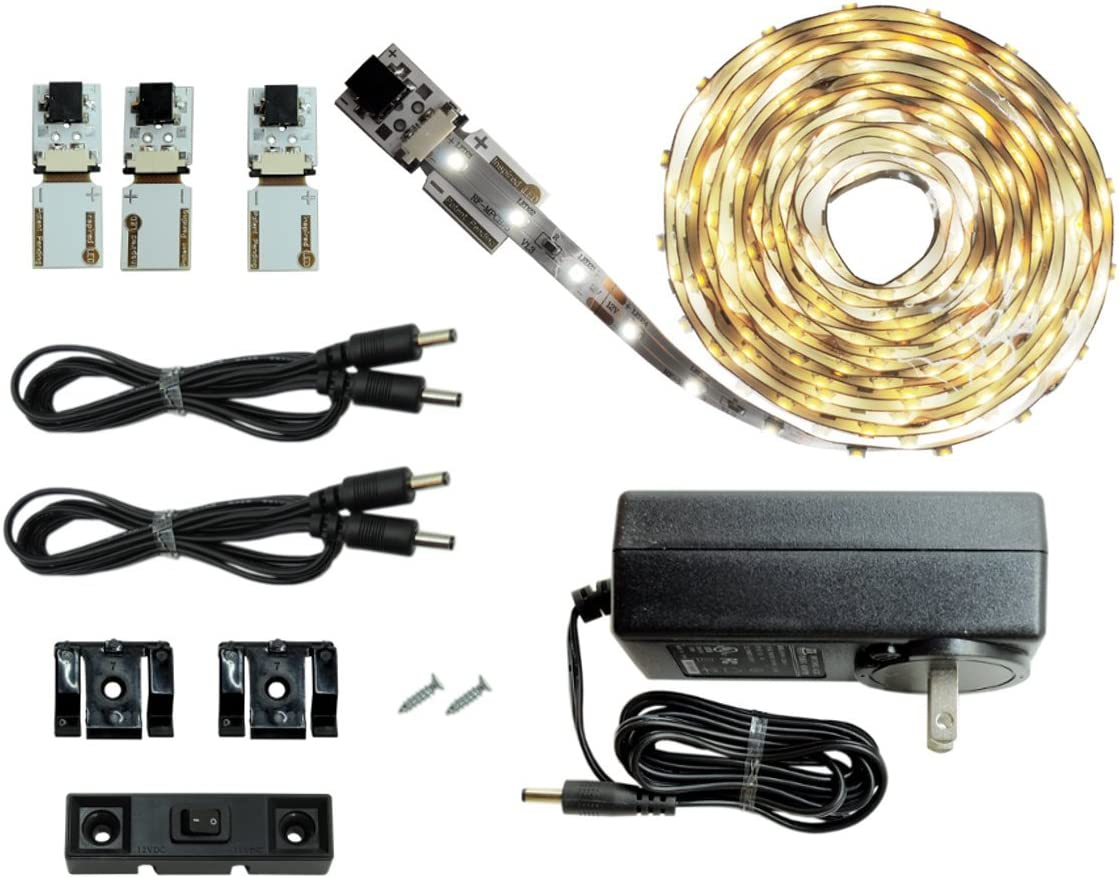 Cove Lighting LED Lighting 39.5ft// 12M Kit Under Cabinet Lighting Customizable Length with Adhesive LED Strip ~3000 K Warm White Dimmable Cut and Connect Series Kit: Ultra Bright