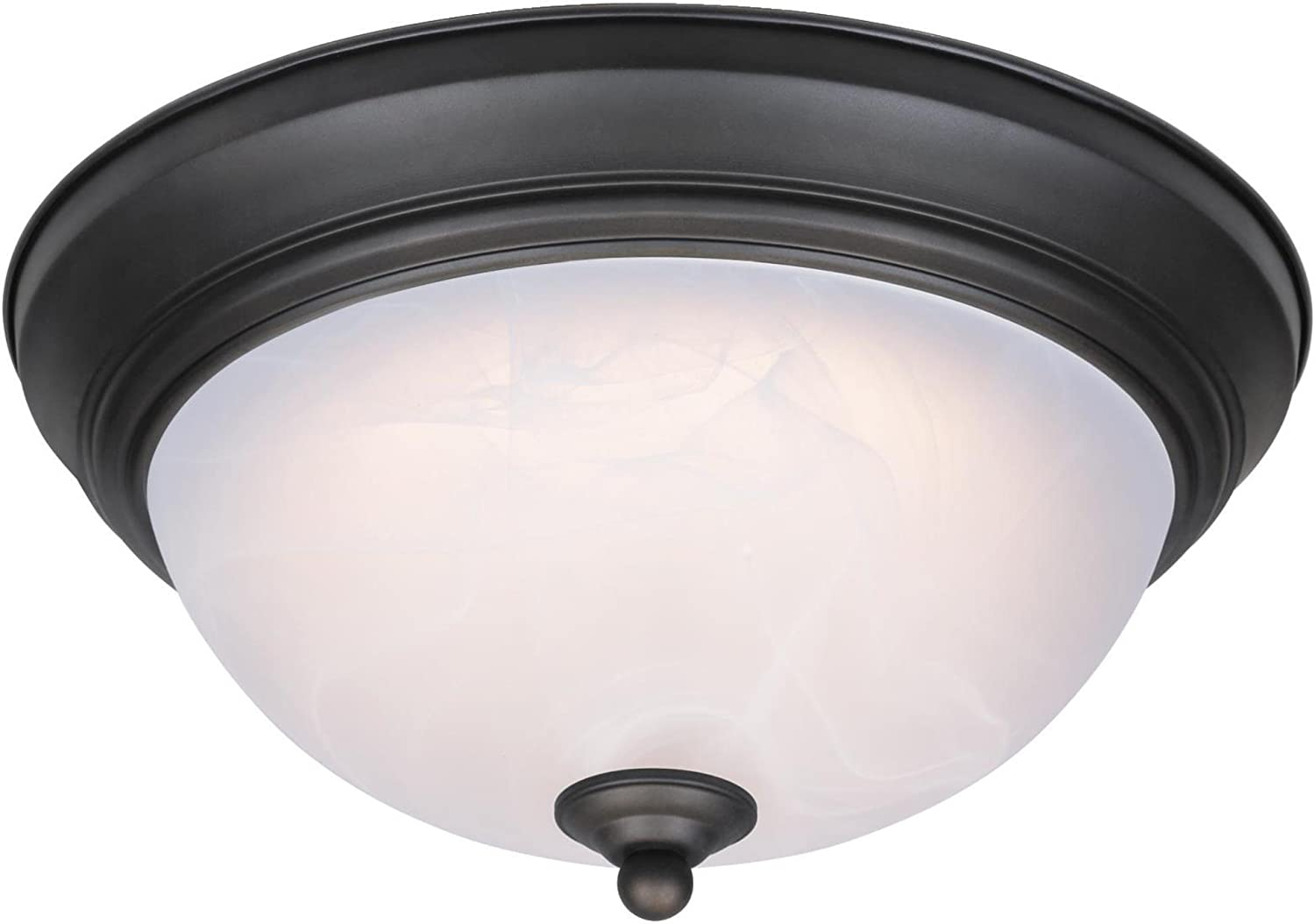 Westinghouse Lighting 6400600 11-Inch LED Indoor Flush Mount Ceiling Fixture, Oil Rubbed Bronze Finish with White Alabaster Glass