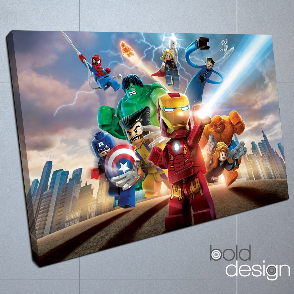 Lego marvel superhero the avengers spiderman childrens wall art canvas print 8x12 inches amazon co uk kitchen home
