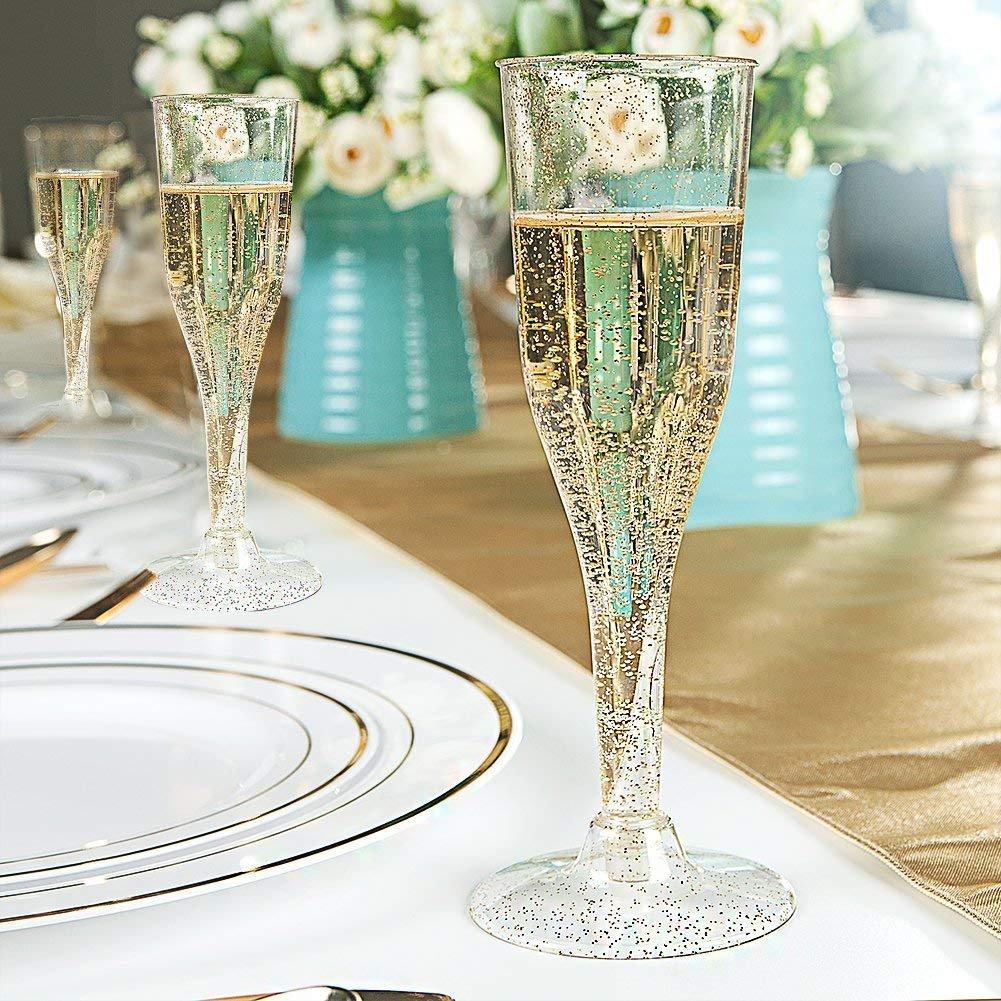 5bfa51c6876 105 Pieces Plastic Champagne Glasses Gold Glitter, 5 Oz Plastic Champagne  Flutes, Premium Disposable