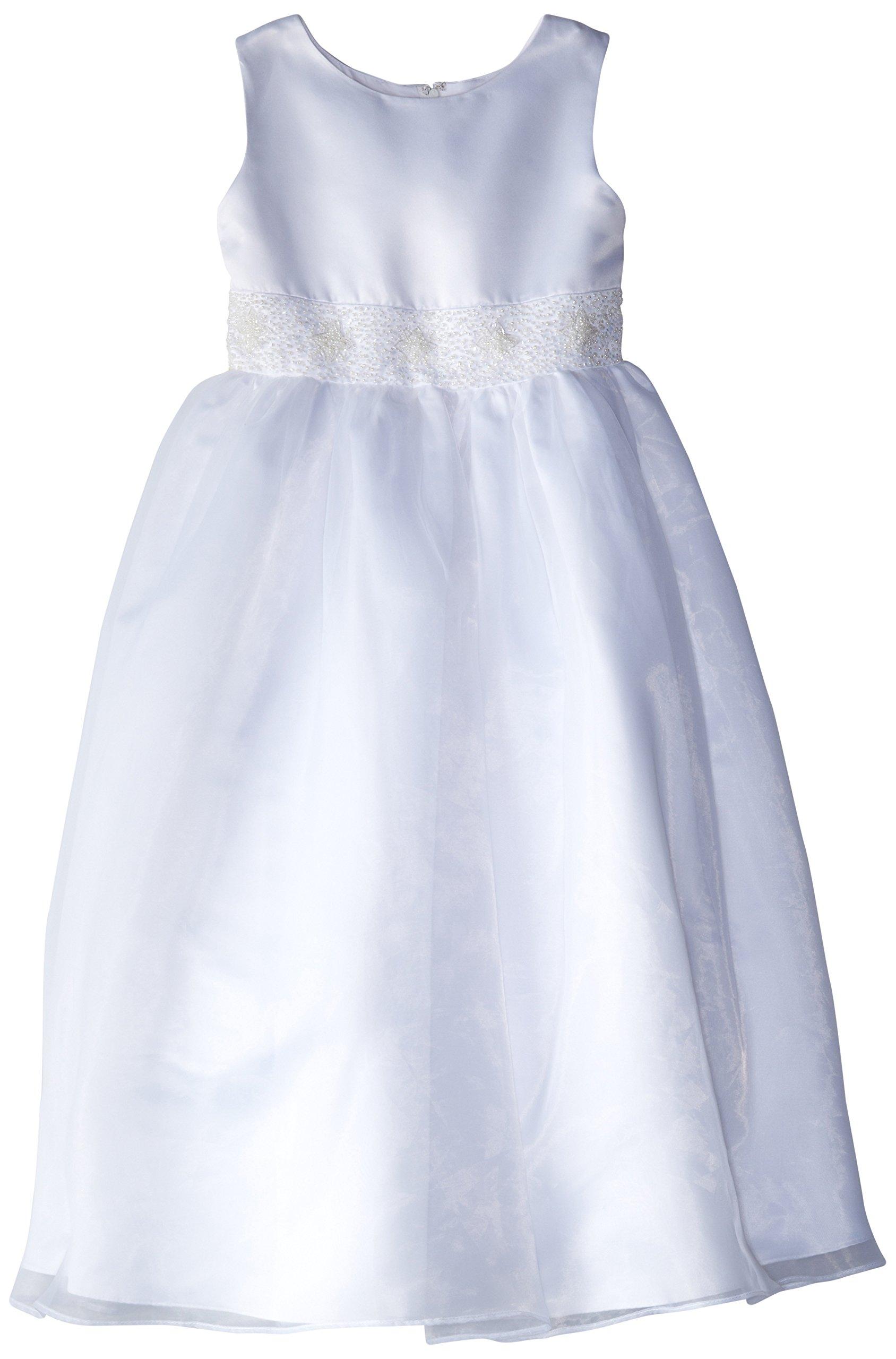 Us Angels Big Girls' Dress With Handbeaded Cummerbund, White, 10