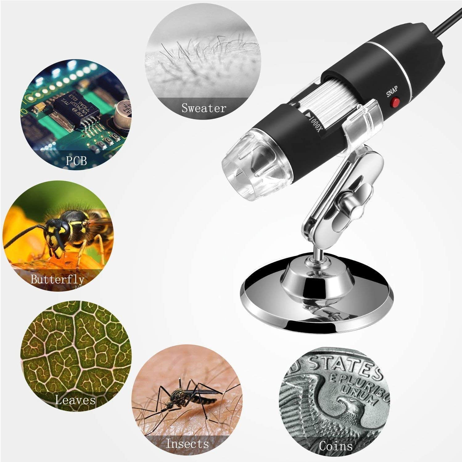 Compatible with Mac Window 7 8 10 Android Linux 8 LED USB 2.0 Digital Microscope Mini Camera with OTG Adapter and Metal Stand 40 to 1000x Magnification Endoscope
