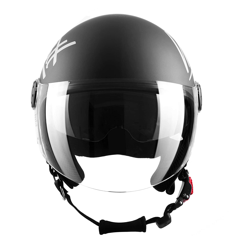 Matt Schwarz Westt Classic Sun Jethelm Motorradhelm Helm ECE Zertifiziert Vintage Stil