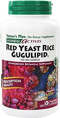 NaturesPlus Herbal Actives Red Yeast Rice Gugulipid – 450 mg, 120 Vegan Capsules – Heart Health Supplement, Cholesterol Support – Vegetarian, Gluten-Free – 120 Servings