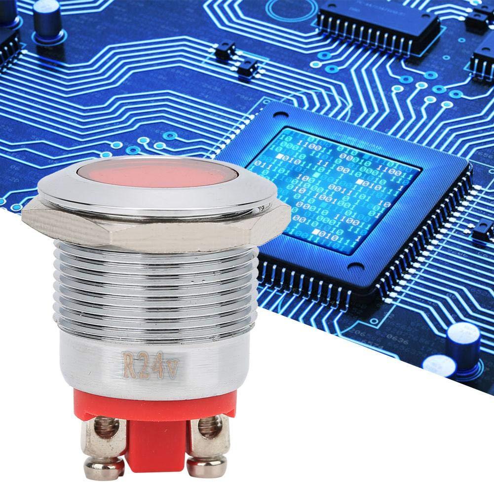 Zerone 40pcs IP68 Waterproof BEM-19C Metal Warning LED Indicator Light for Car 19mm Red-24V