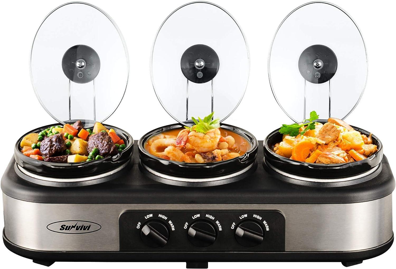 Three Crock Round Slow Cooker Warmer Warming Buffet Server Electric Food Triple