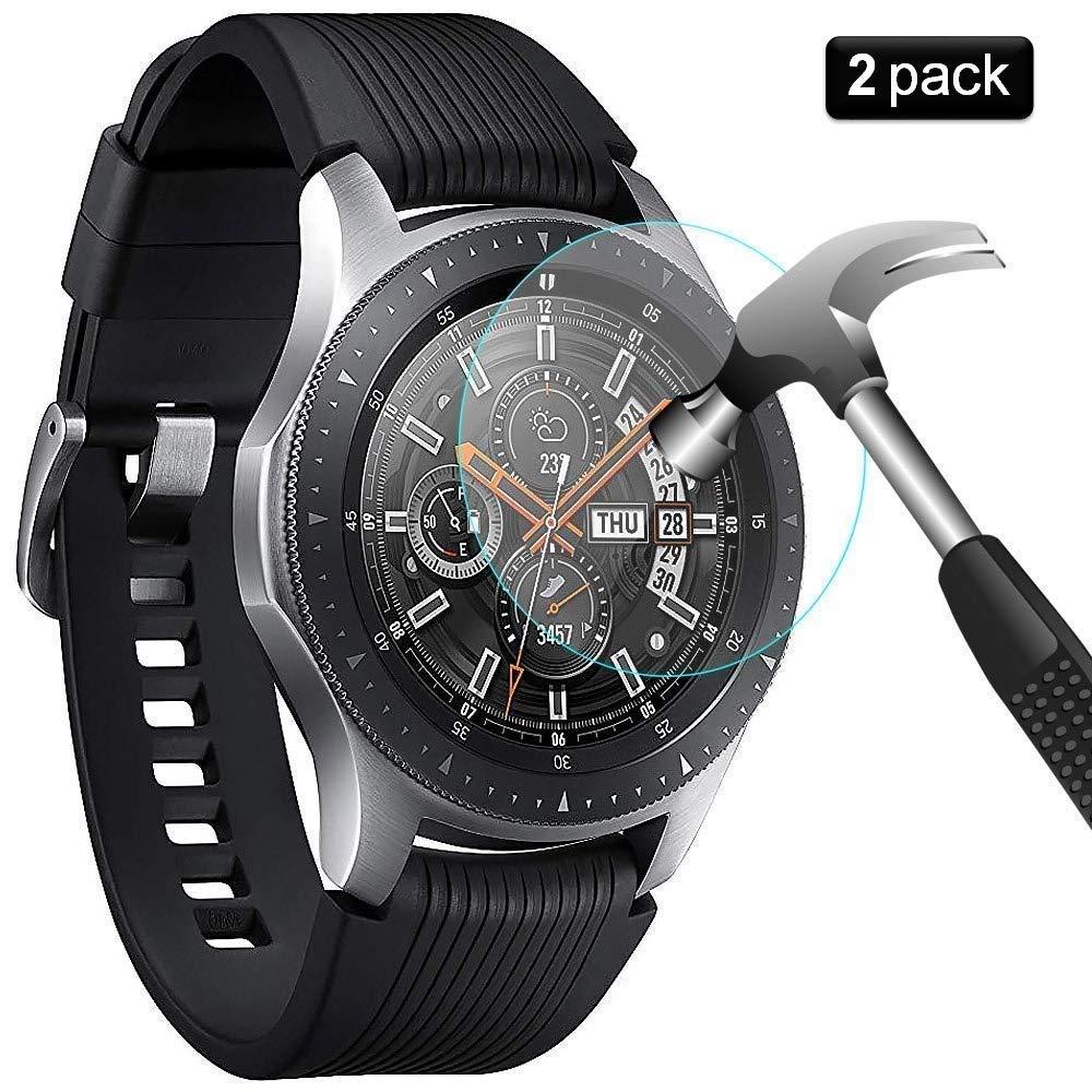 PaceBid [2 Pack] Protector de Pantalla Samsung Galaxy Watch 46 mm,[Dureza 9H] [Anti-Arañazos] [Anti-Huellas] Cristal Vidrio Templado Premium para Samsung ...