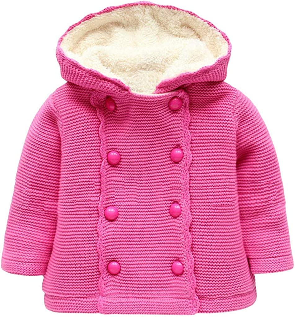 WARMSHOP Infant Boys Girls Winter Warm Coat,Solid Color Button Velvet Knitted Hooded Windproof Sweater Tops