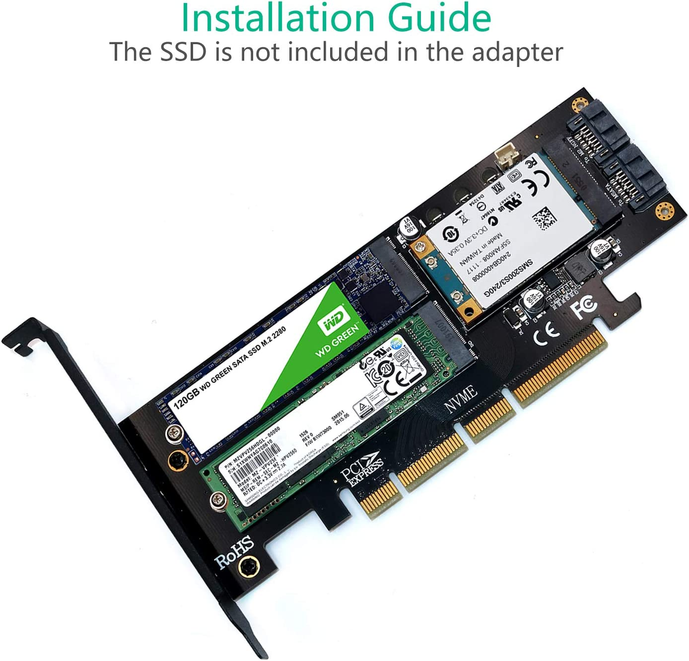 3 in 1 Msata and M.2 NGFF NVME SATA SSD to PCI-E 4X and SATA3 Adapter with Yellow Heatsink Upgrade Version