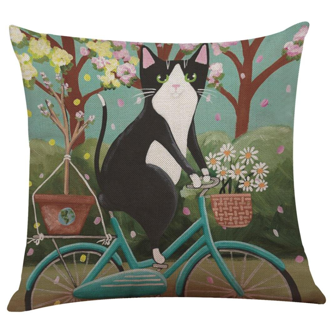 Cute Bicycle Cat Print Pillowcase, UBabamama Sofa Bed Pillow Case Shell Protector Home Decoration Colorful Cushion Cover (A)