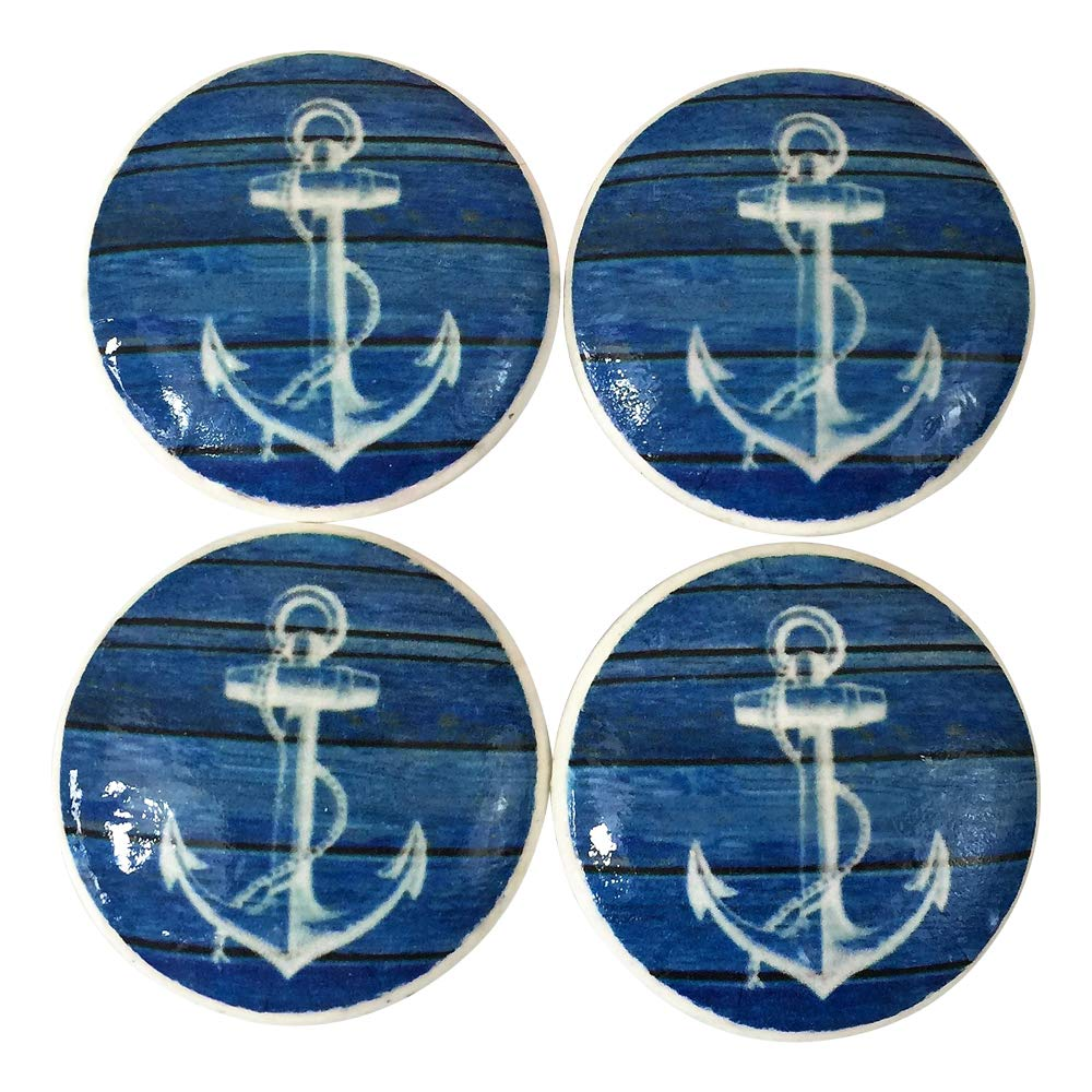 Set of 4 Blue Weathered Wood and White Anchor Print Wood Cabinet Knobs