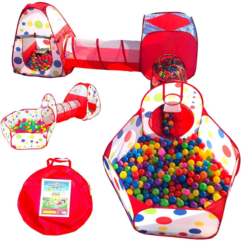 Playz 6-Piece Kids Play Tents Crawl Tunnels and Ball Pit Popup Bounce Playhouse Tent with Basketball Hoop for Indoor and Outdoor Use with Red Carrying Case by Playz