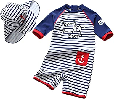 ACSUSS Kids Boys 2 Pieces Tankini Swimsuit UPF 50 Rash Guard Short Sleeves Cartoon Shark Print Swimwear with Cap