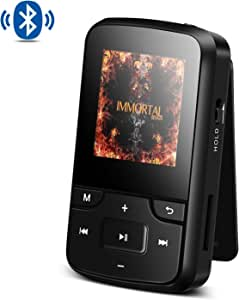 AGPTEK 8GB MP3 Player with Bluetooth 4.0 Portable Clip Music Player with Armband and Silicone Case, Expandable Up to 128GB, G6 (Black)