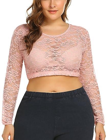 d0544ffe6fd MISELON Women's Lace Floral Mesh Sheer Plus Size Crop Tops Sexy Short  Blouse T-shirt