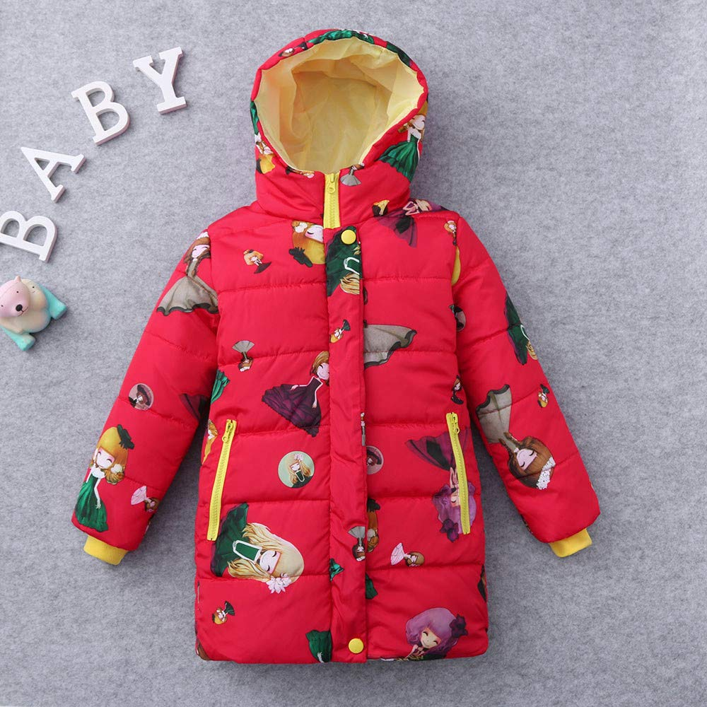 Lurryly❤Girls Kids Long Sleeve Warm Winter Coat Jacket Outerwear Hooded Hoodie Tops 2-8T