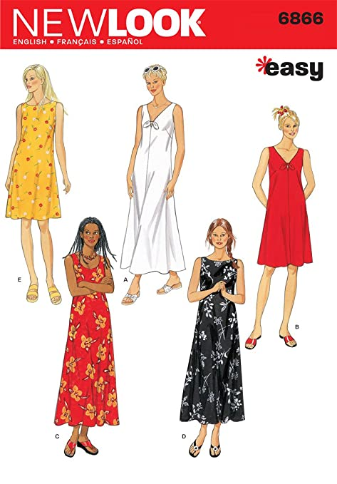 New Look Sewing Pattern 6866: Misses Dresses, Size A, A (S-M-L-XL ...