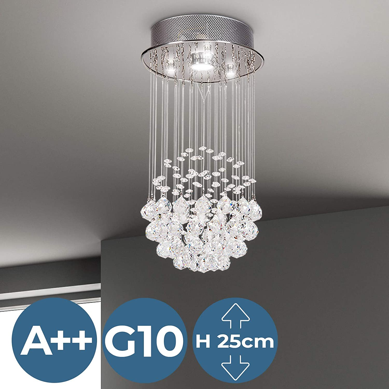 Ca Deckenleuchte Wohnzimmer Deckenleuchte Mit Glas Kristallen Lampe Kronleuchter max L/üster Esszimmer Leistung 50W 50 cm hoch Schlafzimmer Pendelleuchte