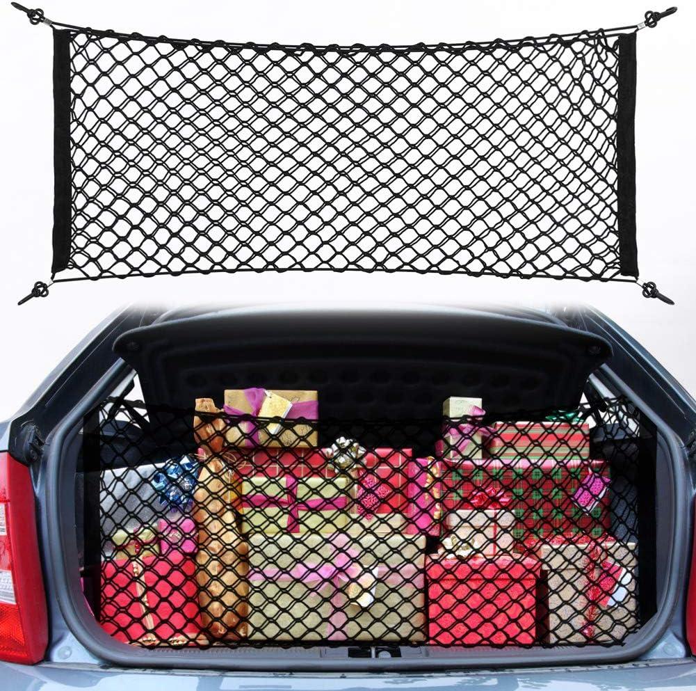 Delaman Nylon Elastic Mesh Net Car Hatchback Rear Luggage Cargo Trunk Storage Bag Pocket Organizer